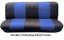 Mesh Black/Blue FULL SIZE BENCH Seat Cover,Fits Most 73-99 Chevy F/S P/U Trucks.