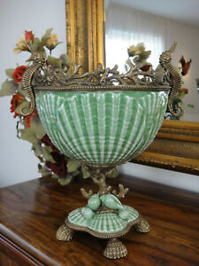 Prunkschale Porzellan Bronze Prunkvase Antik Barock Pokal Schale Vase Luxus Edel