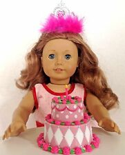 """Pink Crown with Birthday Cake for American Girl Doll 18"""" Accessories SET"""