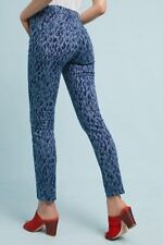 Anthropologie Pilcro Mid Rise Skinny Ankle Animal Print Blue Jeans 25