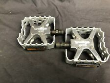 """New Wellgo LU-953 BMX Bicycle Bike Bear Trap Style Pedals 9/16"""" Silver NOS"""