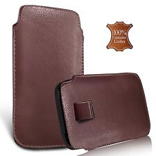 For HTC Desire 10 Pro - Genuine Leather Pull Tab Flip Case Cover Pouch