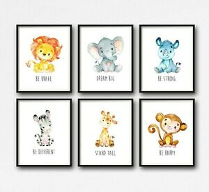 6 African Jungle Animal Nursery Prints Dream Big Stand Tall Quotes Wall Art