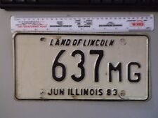 VINTAGE 1983 ILLINOIS LAND OF LINCOLN MILEAGE TAX TRUCK LICENSE PLATE 637 MG LOW