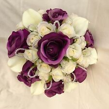BRIDES POSY IVORY & PURPLE ROSES CALA LILIES, ARTIFICIAL SILK WEDDING FLOWERS
