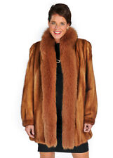 Genuine Real Mink Fur Jacket Plus Size - Golden Dyed Fox Trim