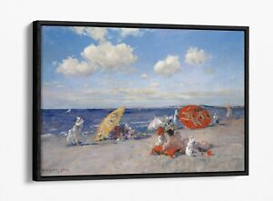 WILLIAM MERRITT CHASE, AT THE SEASIDE -FLOAT EFFECT CANVAS WALL ART PIC PRINT
