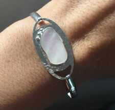 Pink and White Genuine Caribbean Sea Glass Sterling Silver Bracelet Size Medium