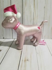 VS Victoria's Secret PINK Dog Plush Metallic Santa Hat Puppy Christmas Rare