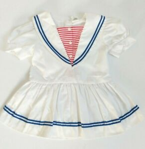Red Blue Stripes Short Sleeves Vintage 1970s Baby Dress with Sailboats 12 Month Size White