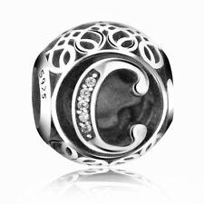 New Authentic Pandora Silver Charm Bead Vintage Letter C Clear CZ S925 Ale