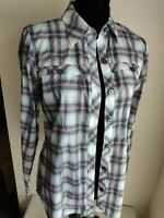 CAbi Plaid Floral Top Blouse Shirt Womens S Button Front Long Sleeve