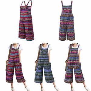 Women Dungarees Print Overall Bodysuit Cotton Linen Jumpsuit Romper Plus Size