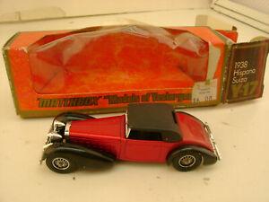 1973 MATCHBOX LESNEY MODELS OF YESTERYEAR 1:48 Y17 ORANGE/BK 1938 HISPANO SUIZA