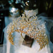 Luxury Wedding Jewelry Bridal Crystal Queen Gold Crown Tiara Handmade Headbands