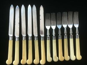 12-piece dessert cutlery set with sterling silver ferrulles Joseph Rogers & Sons