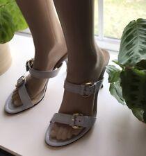 NIB Lumiani Revelin Gold Buckle Strappy Cream Leather Sandals Heels Sz 9.5 Italy