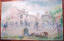GUERRE14 18 GRANDE AQUARELLE 91/59 CM DATÉE AOÛT 1914 MILITARIA-DÉDICACÉE-SIGNÉE