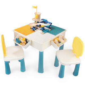 7-in-1 Multifunktionaler Spieltisch Set Bautisch mit 100 Bausteine & 2 Stühlen