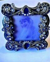 VTG Fabulous Victorian like Jay Strongwarter Crystal jeweled picture frame 2.5x3
