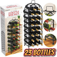 Black Finish Stainless Steel Wine Rack Holder Floor Standing Holds 23 Bottles