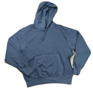 new men champion L/S hoodie sweater 100% authentic sample size LARGE logo blue