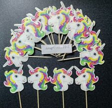 12 x Unicorn Cake Picks / Cupcake Toppers Birthday Cake Flags Decorations Pony