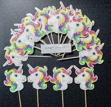 12 X Unicorno Torta Decorazioni Per Prelievi/Cupcake Torta Di Compleanno Decorazioni Bandiere Pony