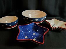 Stars & Stripes Patriotic large and small bowl set and 2 Star bowls ceramic