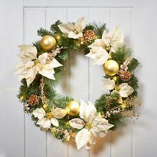 Jaymark Products Gold & Cream Christmas Wreath Pre-Lit LED Warm White Lights