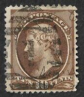 USA: 1870 10c Brown THOMAS JEFFERSON VF Used Banknote Example