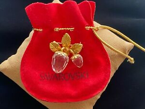 Swarovski Swan Signed Crystal Memories Strawberry Pin Brooch
