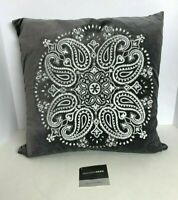 "Madison Park Gray Suede With White Design Decorative Pillow 17.5""x17.5"""