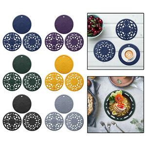 3x Round Heat-insulated Silicone Hot Pads Kitchen Table Top Tableware Trivet