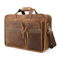"""Men Leather Briefcase 17"""" Laptop Bag Handbag Travel Bag Shoulder Messenger Bag"""