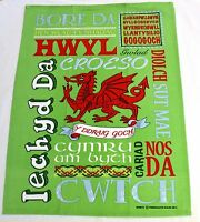 WELSH WORDS design green cotton TEA TOWEL,  Wales, Cymru,