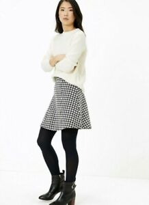 NEW SIZE 10 LADIES HOUNDSTOOTH A-LINE MINI SKIRT MARKS & SPENCER BLACK MIX