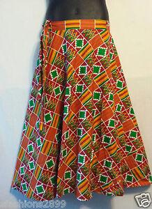 African Kente Fabric Cloth wrap around Skirt Maxi Vintage 70s Free size Print#11