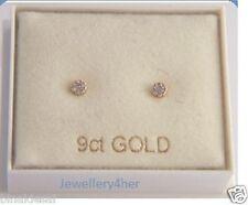 Girls Kids 9ct GOLD Tiny Small 2mm White Round CZ STUDS EARRINGS B'day GIFT BOX