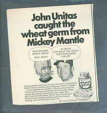 Mickey Mantle & Johnny Unitas Wheat Germ Advertisement