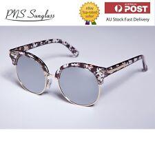 Women White Tortoiseshell Frame Grey Reflective Tinted Lens Sunglasses UV 400