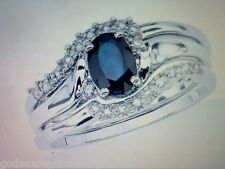 SAPPHIRE & DIAMOND WEDDING ENGAGEMENT RING SET R SZ 5 SZ 6 SZ 7 SZ 8 SZ 9 SZ 10