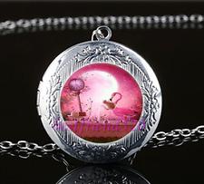 Rose Flamingo Bird Cabochon Glass Tibet Silver Locket Pendant Necklace