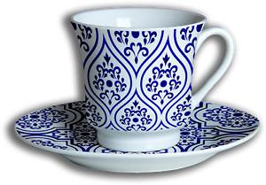Moroccan 12 Piece Tea Set - Porcelain, Ceramic, Cup & Saucer (Set of 6)