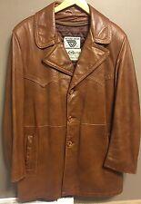 Vintage 1970s 3/4 Length Brown Leather Belt Back Jacket, Mod Hipster Fight Club