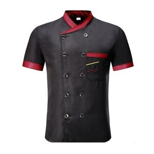 Chef Jacket Uniform Short Sleeve Hotel Kitchen Chefs Cargo Cooker Coat Jumper