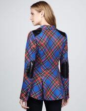 NEW Smythe Plaid Blue Red Tartan Riding Blazer Black Leather Patch Size 10