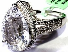 NY Herkimer Diamond (Pear 10.15 Ct), Diamond Ring Sterling Silver (Size 9)