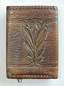 Vintage Leather Wallet Stamped Embossed Tri Fold Brown Leather Floral? Design