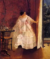 Oil painting Alfred Stevens - lady at a window feeding birds nice young woman